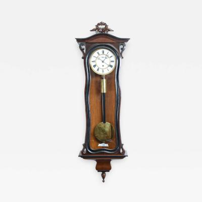 Walnut Frame Case Glass One Weight Regulator Wall Clock
