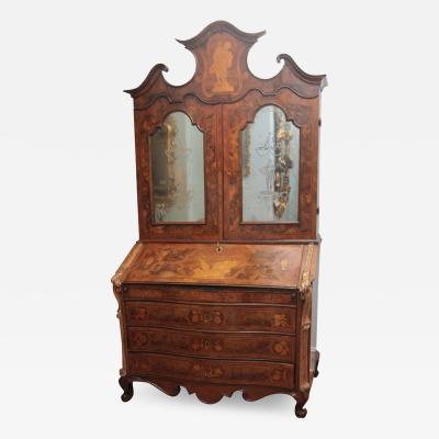 Walnut Fruit Wood and Silver Gilt Bureau Bookcase