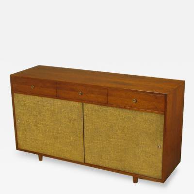 Walnut Lacquered Linen Nine Drawer Cabinet In The Manner Of Paul McCobb