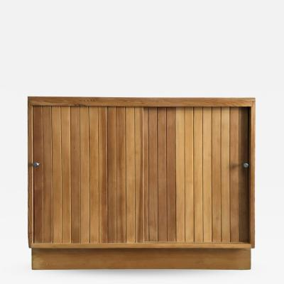 Walnut Little Cabinet with Sliding Doors