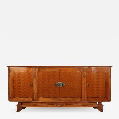 Walnut Parquetry Sideboard by Jules Leleu c1950