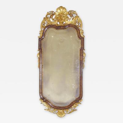 Walnut Queen Anne Mirror Danish c 1760