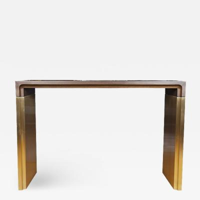 Walnut and Brushed Bronze Console Table