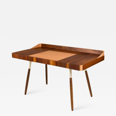 Walnut and Leather Missboss Desk by Oluf Lund for Lop Denmark