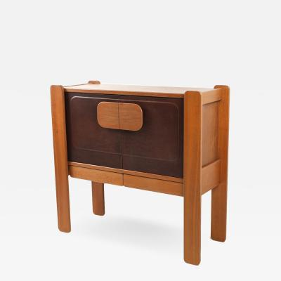 Walnut and Leather Postmodern Cabinet 1970s