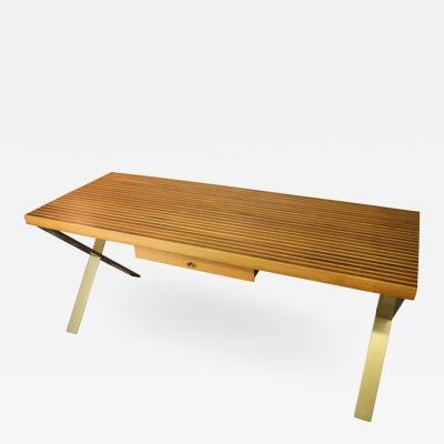 Walnut and OakLaminate Desk with Custom Metal Legs