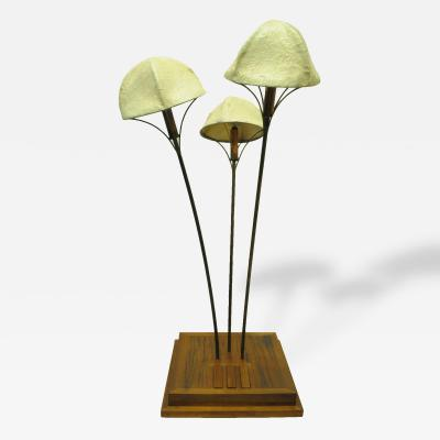 Walnut and Rosewood 3 Button Toggle Mushroom Lamp