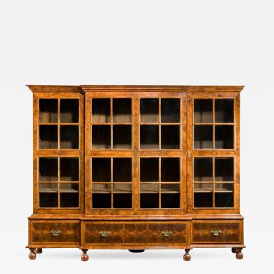 Walnut and oyster veneered breakfront 4 door bookcase