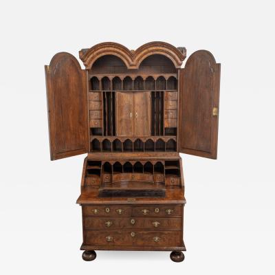Walnut double dome burl walnut bureau bookcase with original mirror plates