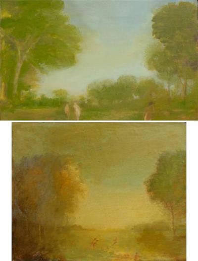 Walta Us Pair of Oil Paintings by Walter Us