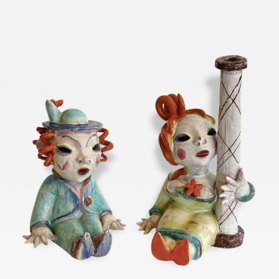 Walter Bosse Glazed Ceramic Couple Figures by Bosse Austria