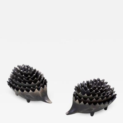 Walter Bosse Pair of Stackable Hedgehog Ashtrays Attributed to Walter Bosse
