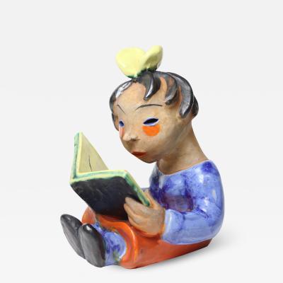 Walter Bosse Walter Bosse Ceramic Sculpture of Girl Reading a Book 1925 Kufstein Austria