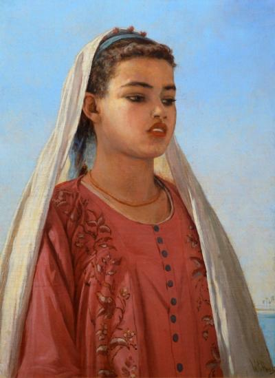 Walter Charles Horsley An Almeh on the Nile 19th Century Orientalist Oil Painting of Exotic Beauty
