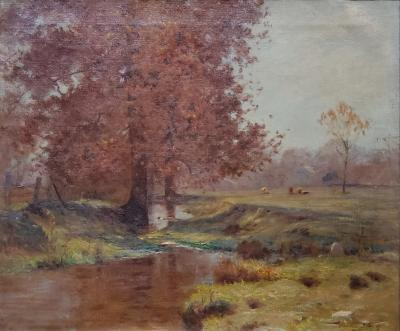 Walter Clark Autumn Landscape Along The Bronx River by Walter Clark