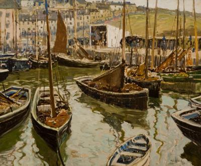 Walter Elmer Schofield The Inner Harbor Polperro