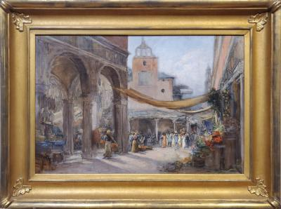 Walter Francis Brown Middle Eastern Outdoor Market A Cityscape Oil Painting by Walter Francis Brown