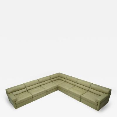 Walter Knoll Large Modular Sectional Sofa in Elephant Grey Leather by Walter Knoll 1970s