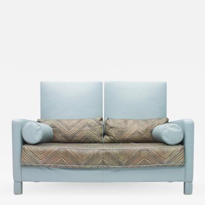 Walter Knoll Rare Light Blue Two Leather Sofa Negresco by Walter Knoll 1989