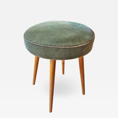 Walter Knoll VINTAGE WALTER KNOLL POUF IN ITS ORIGINAL GREEN MOHAIR LATE 1950s