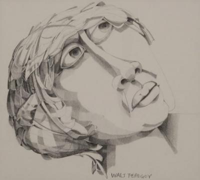 Walter Peregoy Graphite Portrait Illustration by Walter Peregoy