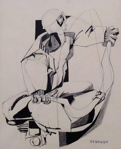 Walter Peregoy Mixed Media Drawing of a Motorcyclist by Walter Peregoy