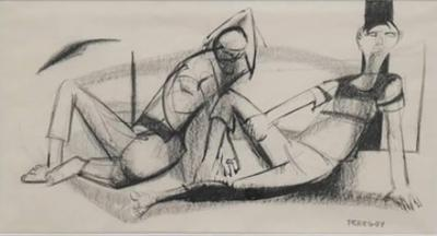 Walter Peregoy Two Lounging Figures in Charcoal and Ink by Walter Peregoy