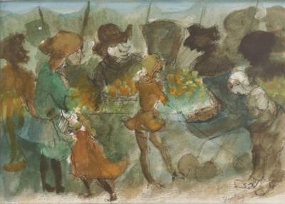 Walter Peregoy Watercolor of a Market Scene by Walter Peregoy