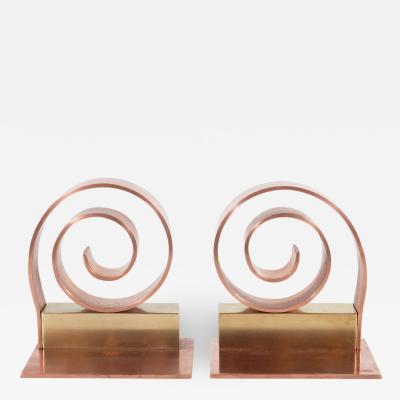 Walter Von Nessen Art Deco Machine Age Copper Brass Bookends by Walter Von Nessen for Chase Co