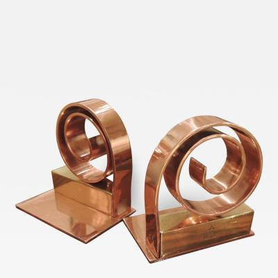 Walter Von Nessen Chase Copper Spiral Bookends