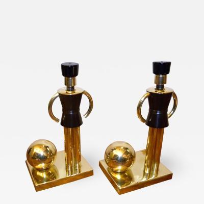 Walter Von Nessen Chase Sentinel Bakelite Brass Bookends by Walter Von Nessen