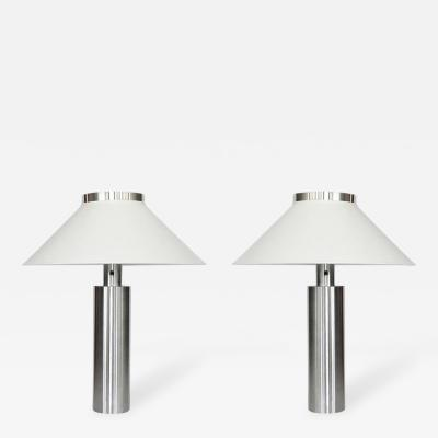 Walter Von Nessen Early Pair of Large Table Lamps by Walter von Nessen in Satin Nickel