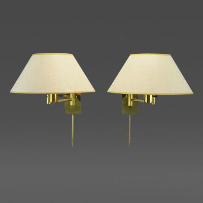 Walter Von Nessen Pair of Walter Von Nessen Brass Swing Arm Wall Lamps