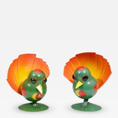 Walter Von Nessen Rare Pair of Futurist Art Deco Peacock Table Lamps by Walter Von Nessen