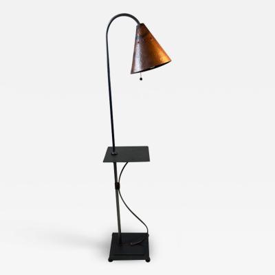 Walter Von Nessen STYLISH ART DECO REVIVAL COPPER AND STEEL FLOOR LAMP