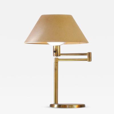 Walter Von Nessen Swing Arm Table Lamp in Brass By Walter Von Nessen