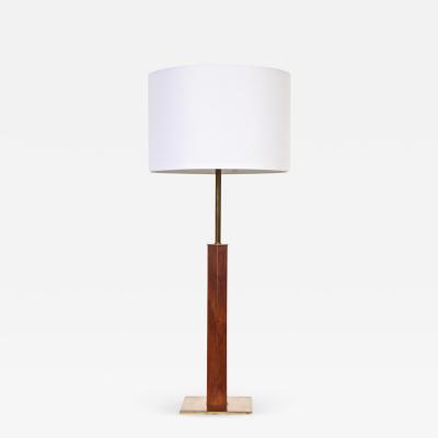 Walter Von Nessen Tall Walter Von Nessen Nessen Studios Walnut Inlaid Brass Tower Table Lamp