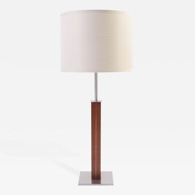 Walter Von Nessen Walnut and Chrome Lamp by Nessen Studios