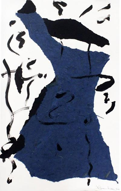 Waltz 2020 a Large Framed Abstract Blue White Black Collage by Diane Love