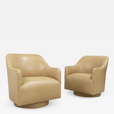 Ward Bennett Pair 1970s Ward Bennett Style Nappa Leather Club Chairs