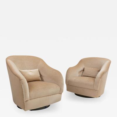 Ward Bennett Pair Ward Bennett Style Swivel Chairs