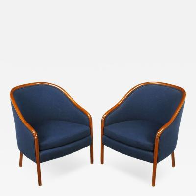 Ward Bennett Pair Ward Bennett Walnut and Wool Lounge Chairs