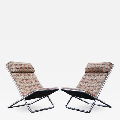 Ward Bennett Pair of Ward Bennett Scissor Pillow Low Profile Highback Chairs