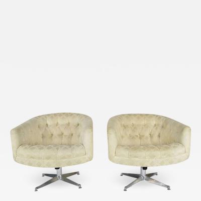 Ward Bennett Pair of Ward Bennett Swivel Lounge or Club Chairs