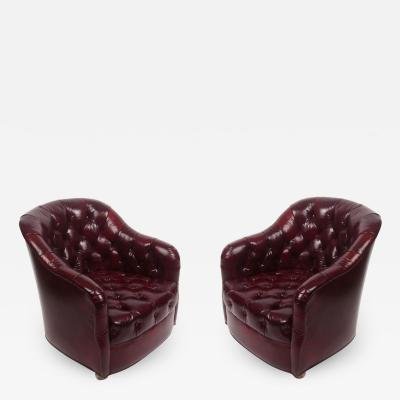 Ward Bennett Pair of Ward Bennett Tufted Club Chairs in Original Oxblood Leather on Castors