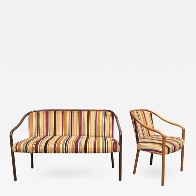 Ward Bennett Rare Ward Bennett Settee and Side Chair in Vintage Fabric