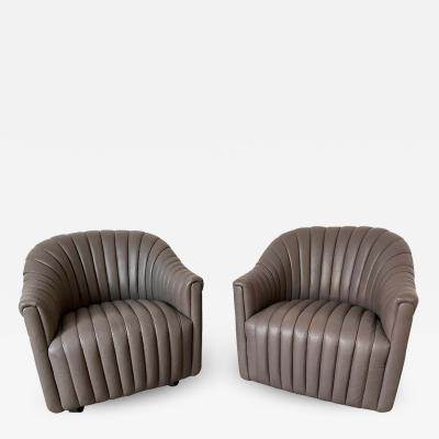 Ward Bennett Ward Bennett Channel Club Leather Chairs 1970s
