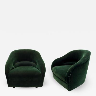 Ward Bennett Ward Bennett Chic Pair of Pleated Back Lounge Chairs 1960s signed