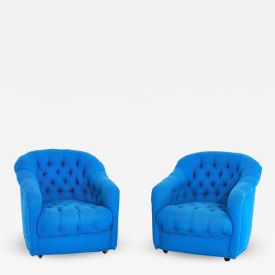 Ward Bennett Ward Bennett Tufted Club Chairs in Original Blue Upholstery 1970