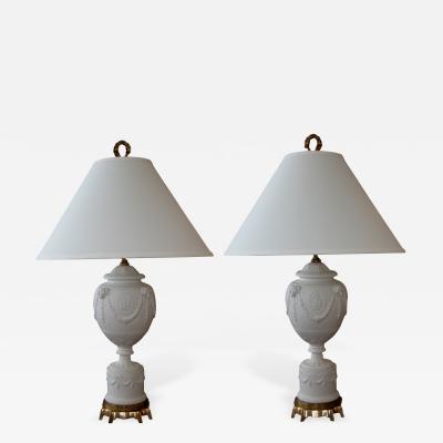 Warren Kessler A Fine Pair of White Bisque Porcelain Baluster Form Lamps